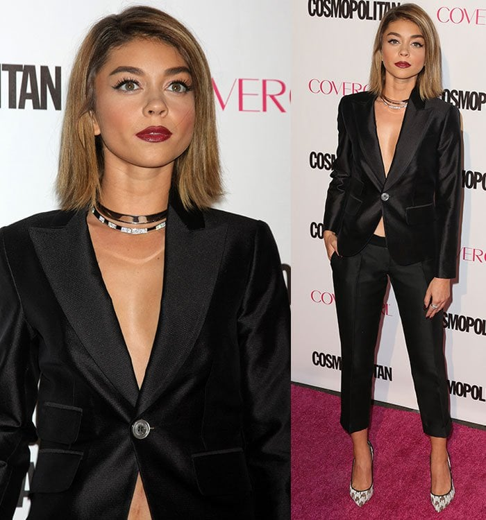 Sarah-Hyland-cleavage-Dsquared2-blazer-cropped-trousers