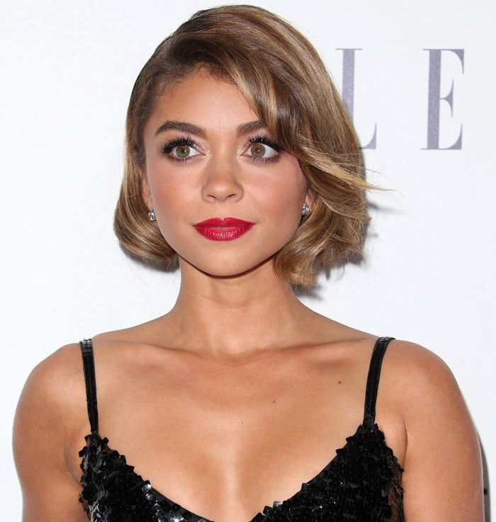 Sarah Hyland shows off her short hair and red lipstick at the Elle Women in Hollywood Awards