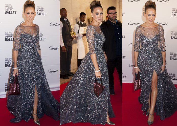 Sarah Jessica Parker dresses up on the red carpet in a Zuhair Murad gown