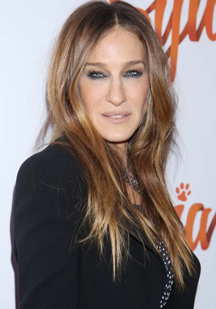 "Sarah Jessica Parker wears her hair down at the opening night of the Broadway play ""Sylvia"""
