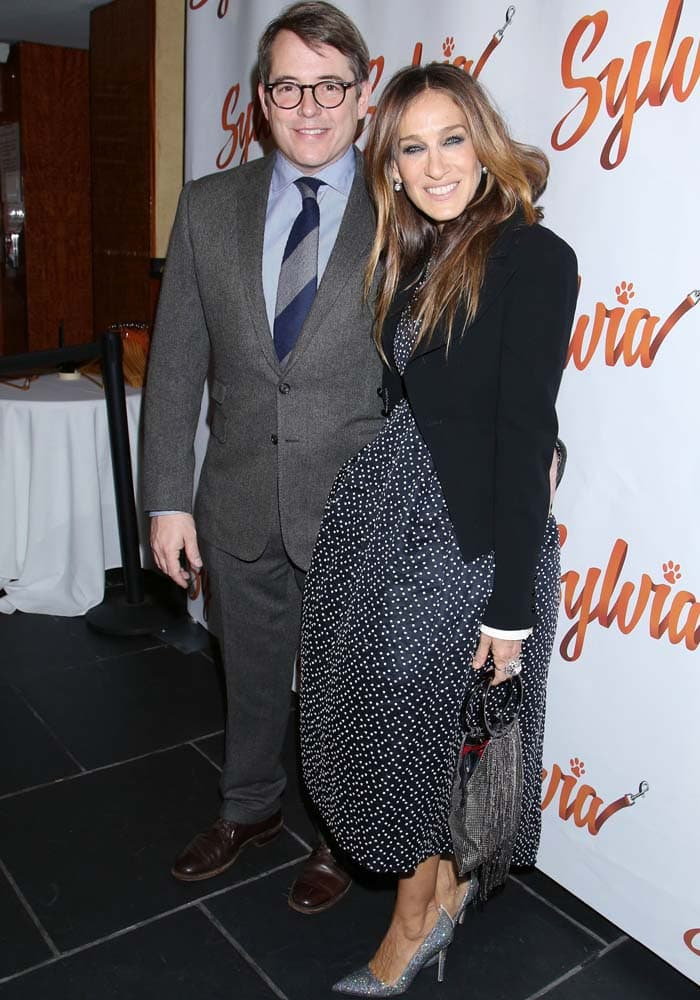 "Sarah Jessica Parker poses with her husband, Matthew Broderick, at the opening night of ""Sylvia"""