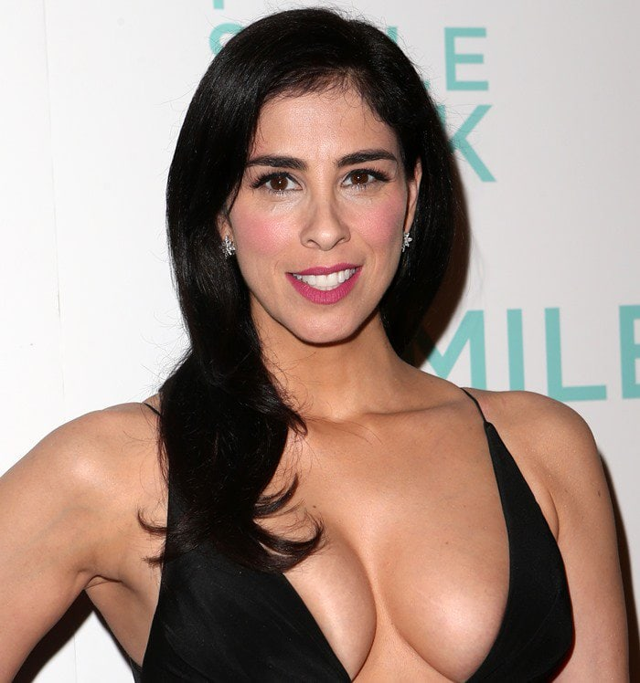 "Sarah Silverman wears her dark hair down and flaunts her cleavage at the ""I Smile Back"" premiere"