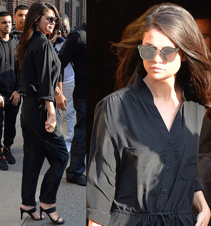 Selena Gomez In Black Jumpsuit And Jenni Kayne Sandals