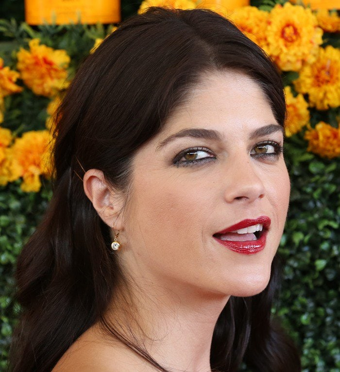 Selma Blair wearing a lot of red lipstick