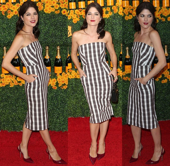 Selma Blair flaunting her hot legs ina chic gingham print pencil dress from Brock Collection