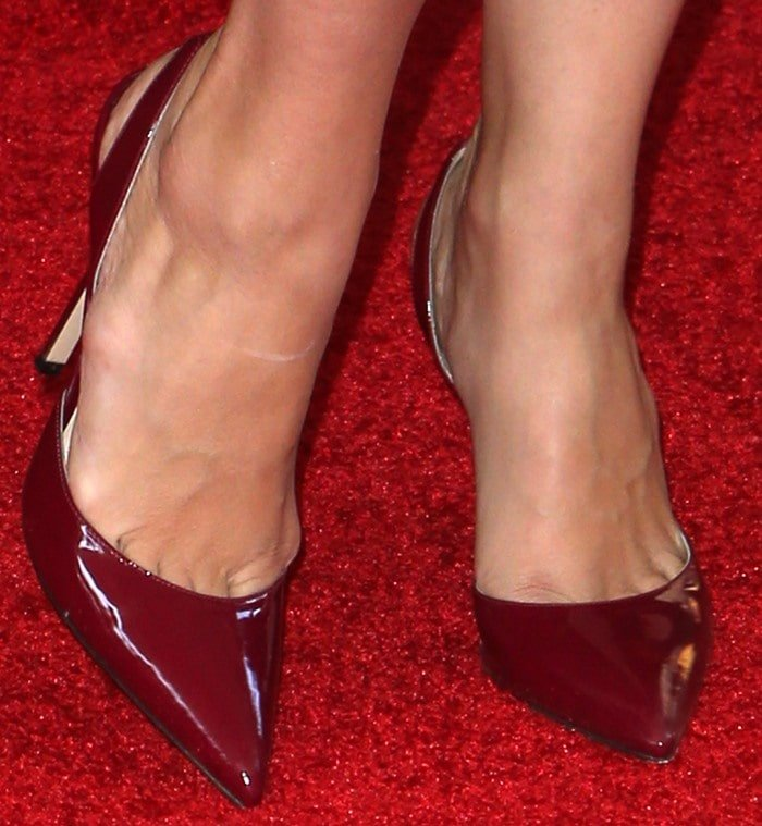 Selma Blair shows off her feet inslingback pumps from Paul Andrew