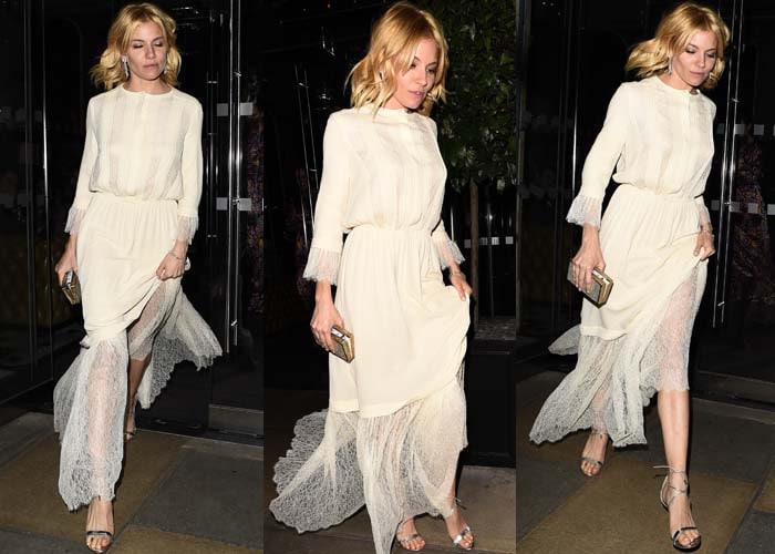 Sienna Miller wears a Michael Kors dress as she moves from event to event
