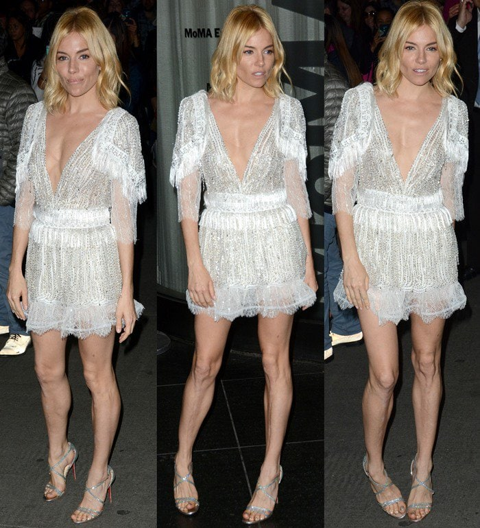 """Sienna Miller shows off her cleavage at the premiere of """"Burnt"""" in a one-piece from Rodarte"""