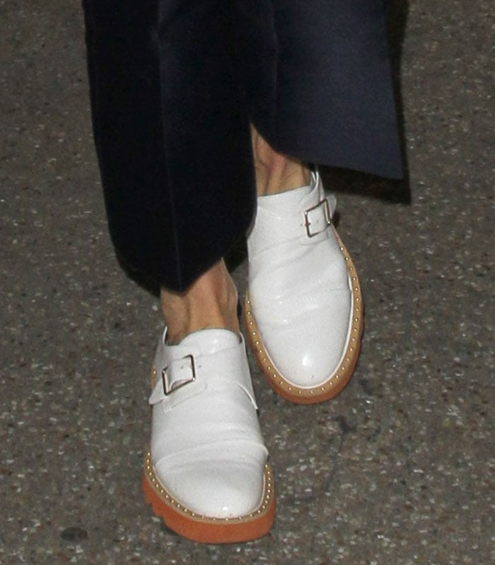 """Stella McCartney wears a pair of """"Odette"""" loafers from her own collection"""