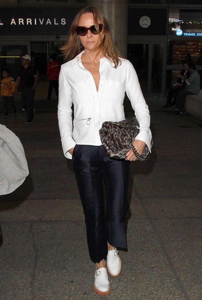Stella-McCartney-white-shirt-satin-black-trousers-LAX
