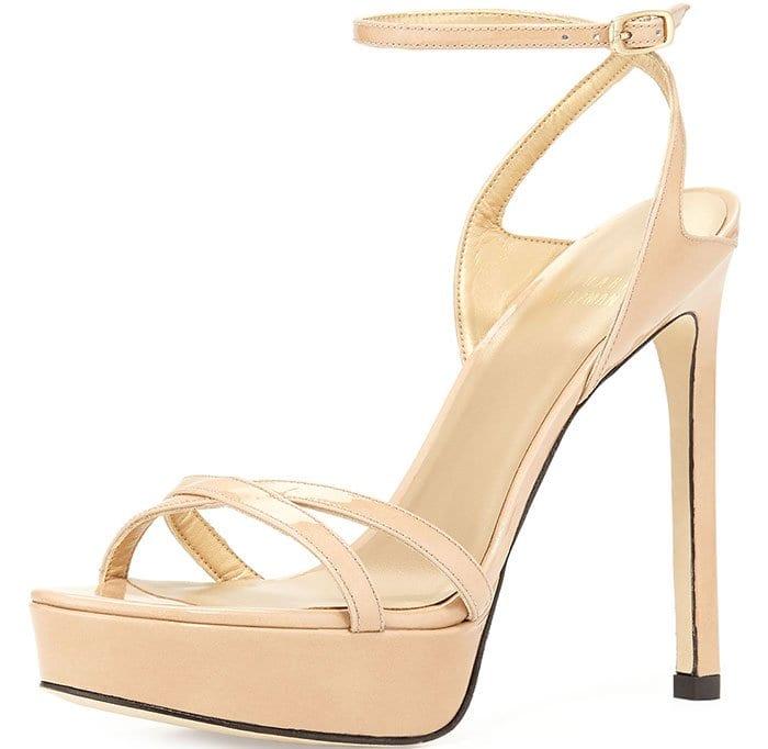 Stuart Weitzman Bebare Sandals Nude Patent