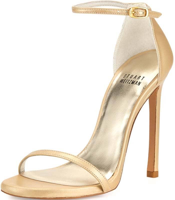 Stuart Weitzman Nudist Ankle Strap in Pale Gold