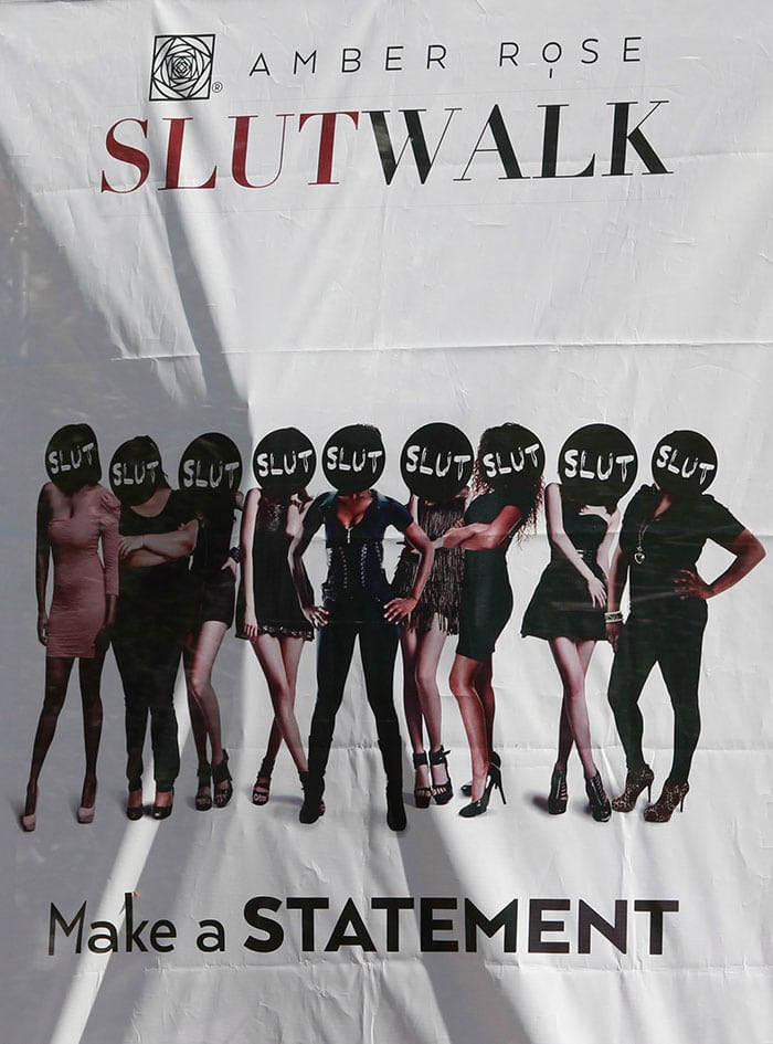 Hundreds of people joined the 31-year-old hip-hop model at Pershing Square in Downtown Los Angeles for her first SlutWalk event