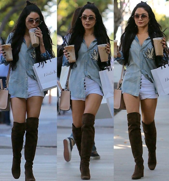 Vanessa-Hudgens-Jacquie-Aiche-Marijuana-Denim-shirt-thigh-boots