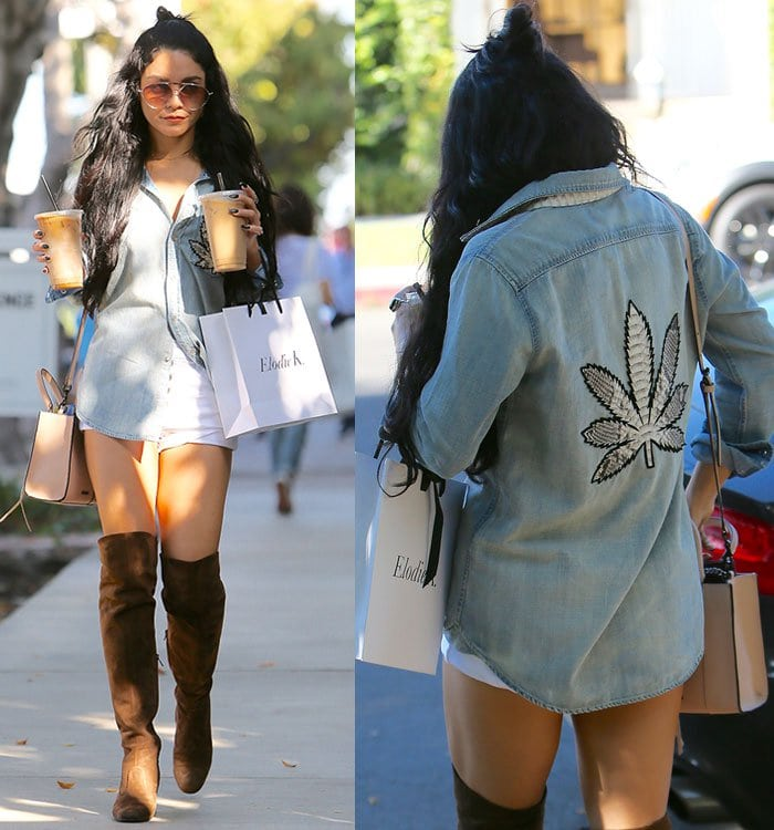 Vanessa-Hudgens-Jacquie-Aiche-x-Mother-Denim-Marijuana-shirt