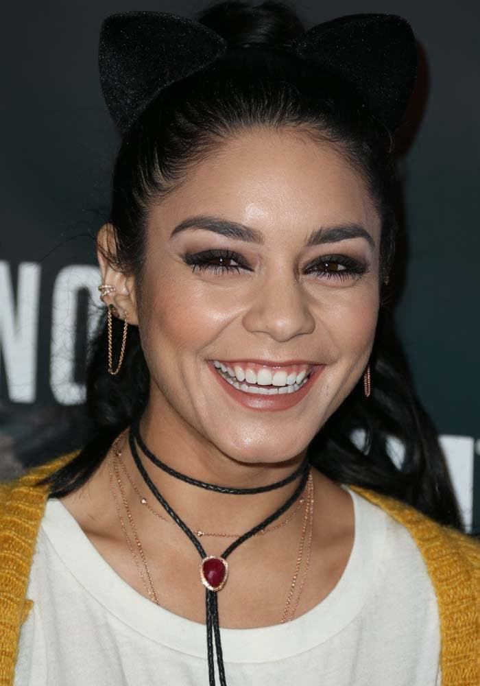 Vanessa Hudgens shows off her white teeth at Knotts Scary Farm