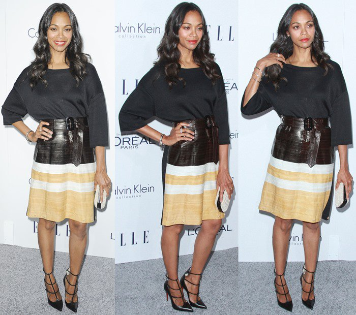 Zoe Saldana wears a Calvin Klein Collection top-and-skirt combo to the Elle Women in Hollywood Awards