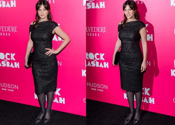 """Zooey Deschanel wears a Lela Rose dress to the premiere of """"Rock the Kasbah"""""""