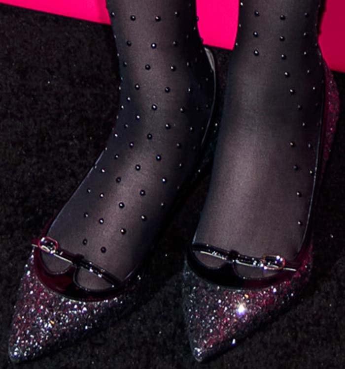 Zooey Deschanel wears pantyhose and glittery pumps from L.K. Bennett