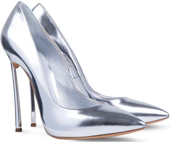 Casadei Blade Barbarella Silver Laminated Leather Mirror Pumps