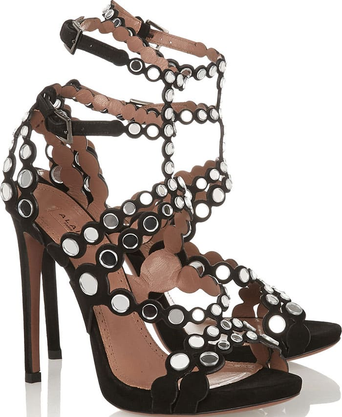 Alaia-Mirror-embellished-suede-sandals