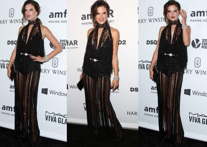 Alessandra Ambrosio wears a Zuhair Murad dress on the red carpet of the amfAR Inspiration Gala