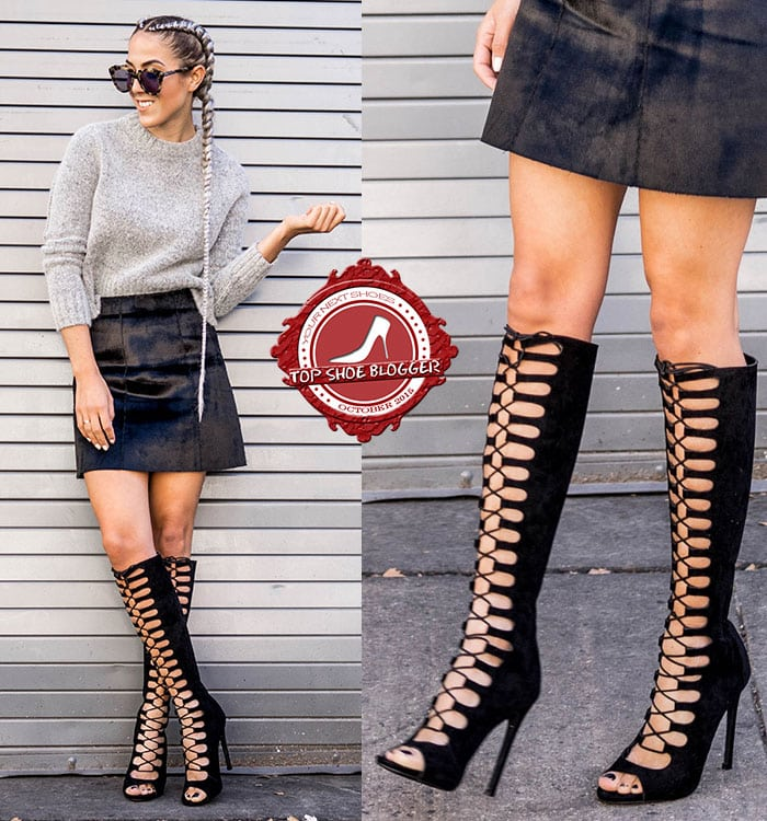 Alison styled knee-high gladiator boots with a miniskirt and a gray knit top