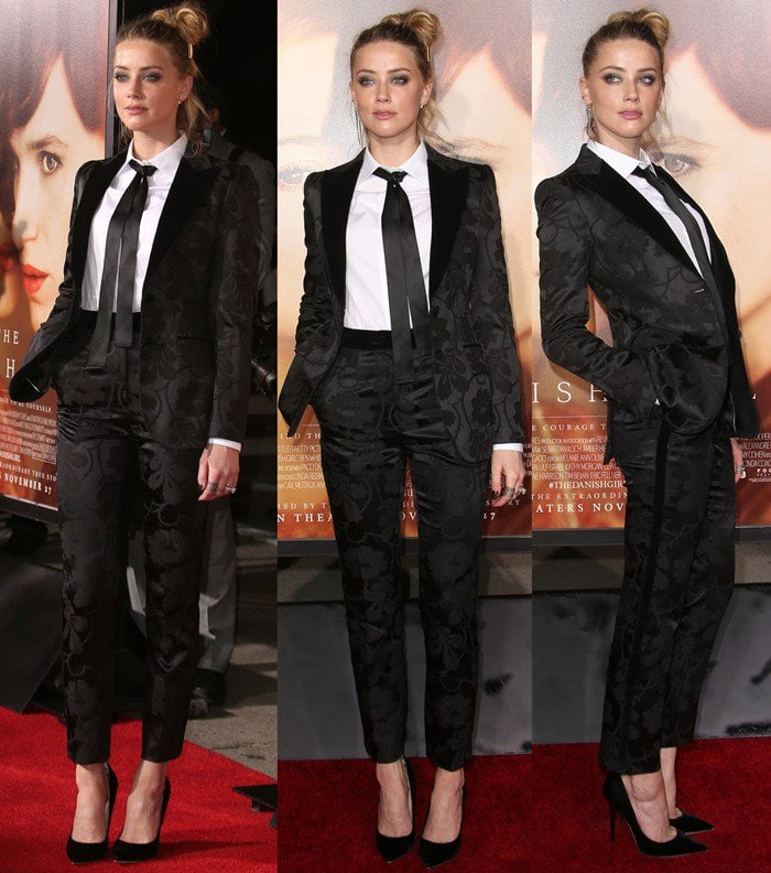 Amber Heard's wrinkled black satin tuxedo Dolce & Gabbana suit