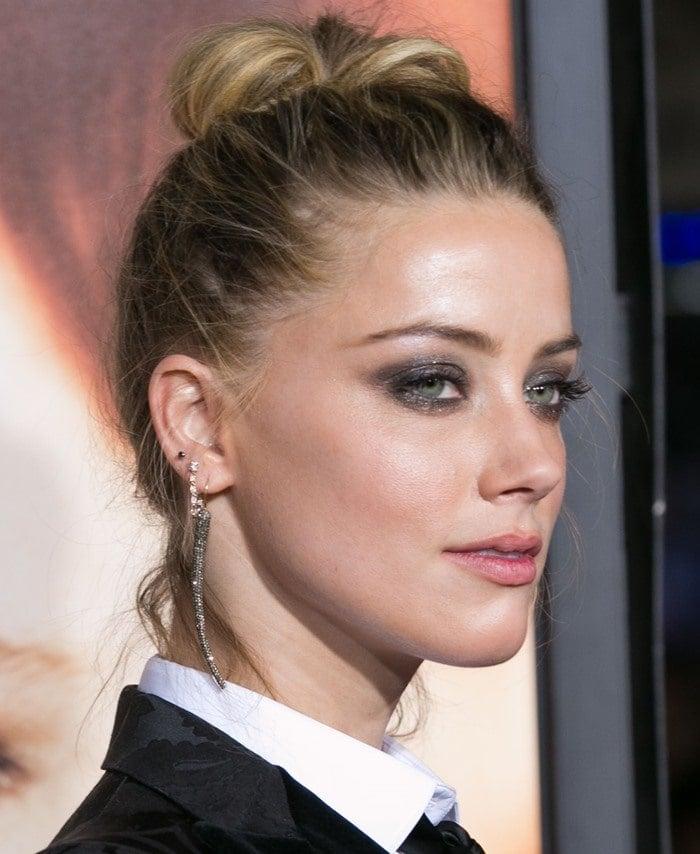 Amber Heard wore a Dolce & Gabbana jacquard tuxedo blazer