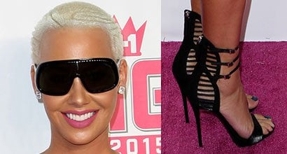 656a4ff2097c Amber Rose Flaunts Her Prized Assets in Bandeau LBD and Giuseppe Zanotti  Suede and Satin Cage Sandals at VH1 Big in 2015 and EW Awards