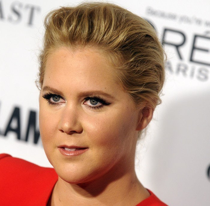 Amy Schumer wears her hair back at the 2015 Glamour Women of the Year Awards