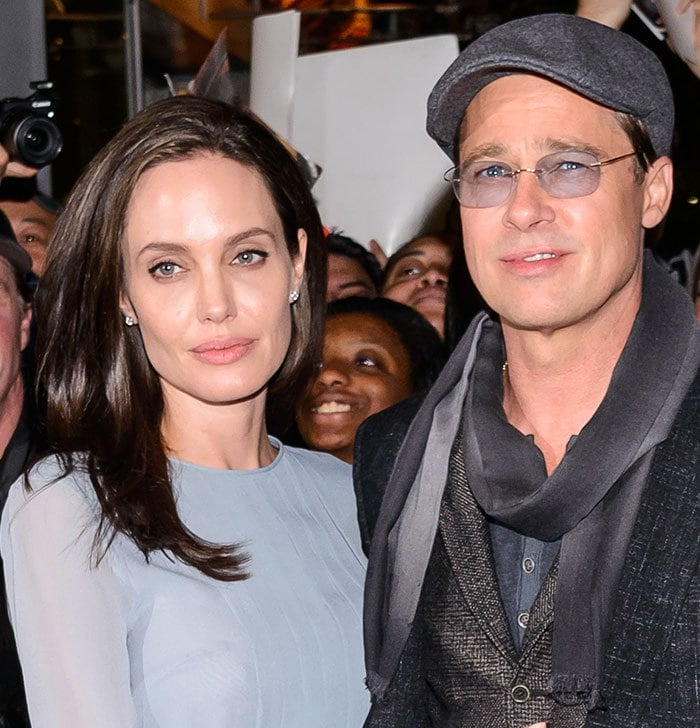"Angelina Jolie and Brad Pitt at the screening of ""By the Sea"""