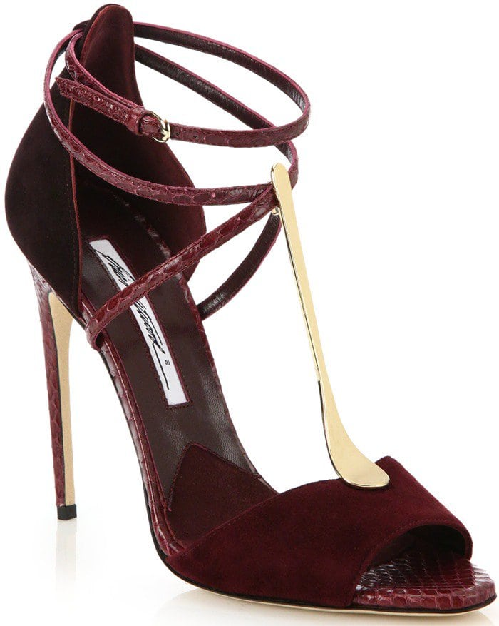 Brian Atwood Purple Avice Python & Suede Goldtone T-strap Sandals