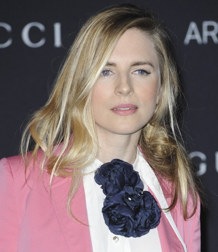 Brit Marling wears her messy hair in a side updo at the 2015 LACMA Art+Film Gala