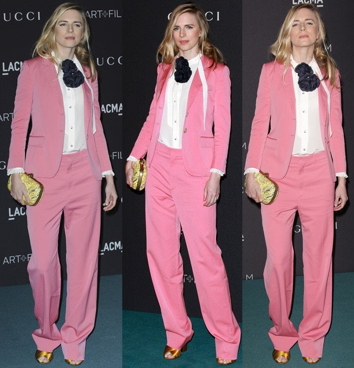 Brit Marling wears a pink Gucci suit at the LACMA Art+Film Gala