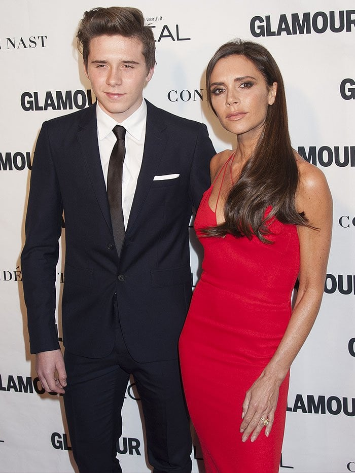 Brooklyn Beckham and Victoria Beckham at the 2015 Glamour Women of the Year Awards held at Carnegie Hall in New York City on November 9, 2015