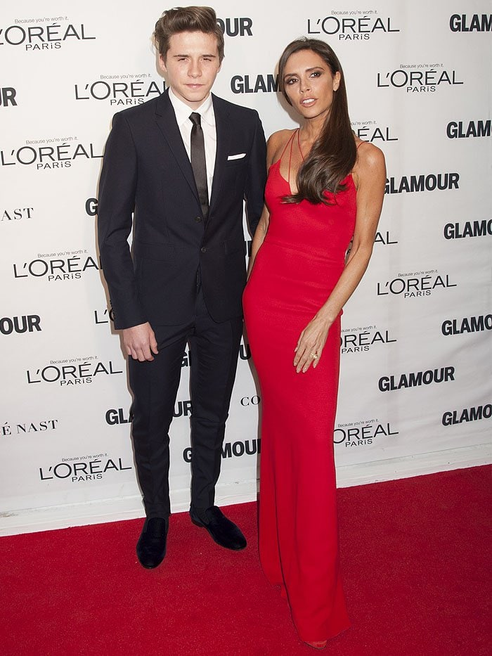 Brooklyn Beckham and Victoria Beckham walking the red carpet together