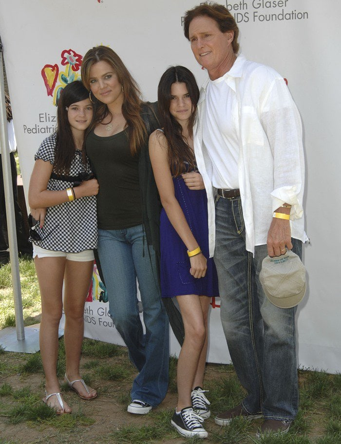 Khloé Kardashian, Bruce Jenner, Kylie Jenner, and Kendall Jenner at the Time for Heroes celebrity carnival to benefit The Elizabeth Glaser Pediatic Aids Foundation in Los Angeles on June 8, 2008
