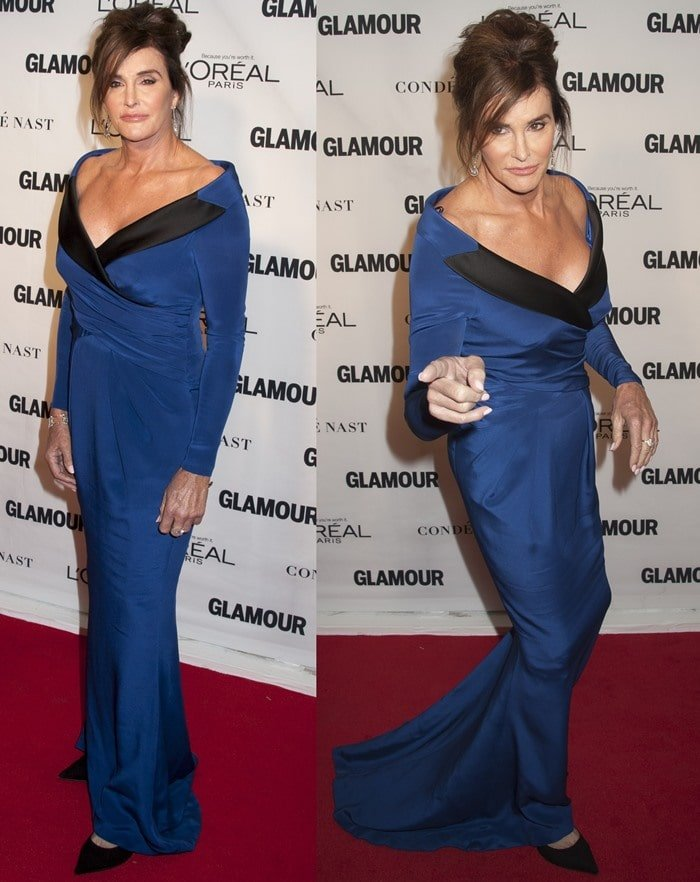 Caitlyn Jenner in a custom-made long sleeve blue silk dress designed by Jeremy Scott for Moschino Couture
