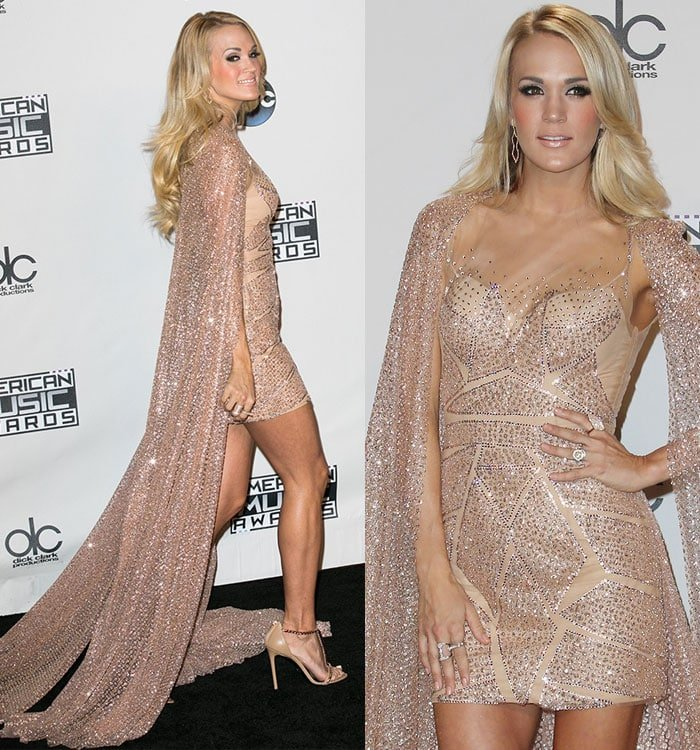 Carrie-Underwood-sparkling-nude-Elie-Madi-cape-dress