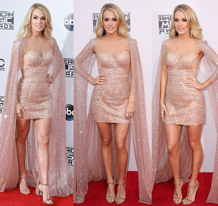 Carrie-Underwood-sparkling-sheer-nude-Elie-Madi-cape-dress