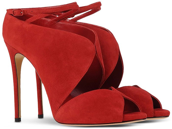 Casadei Red Suede Ankle-Strap Sandal Booties