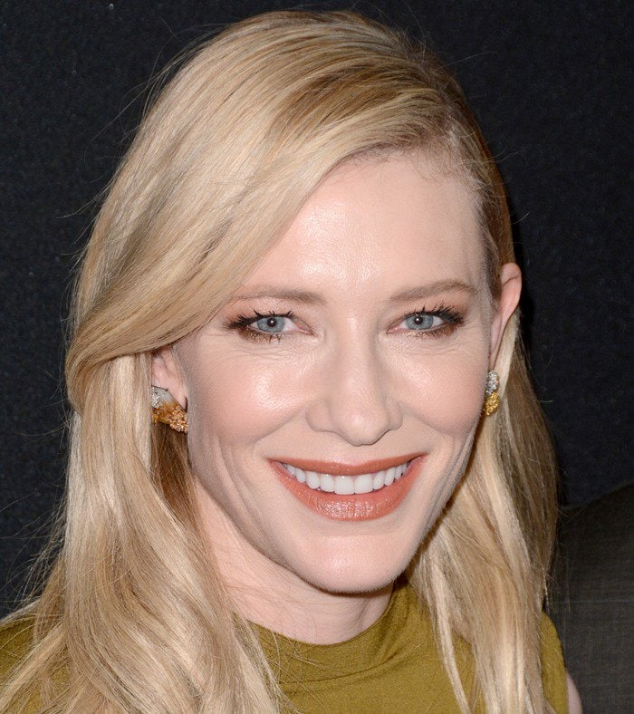 "Cate Blanchett wears her long blonde hair down at the premiere of her new movie ""Carol"""