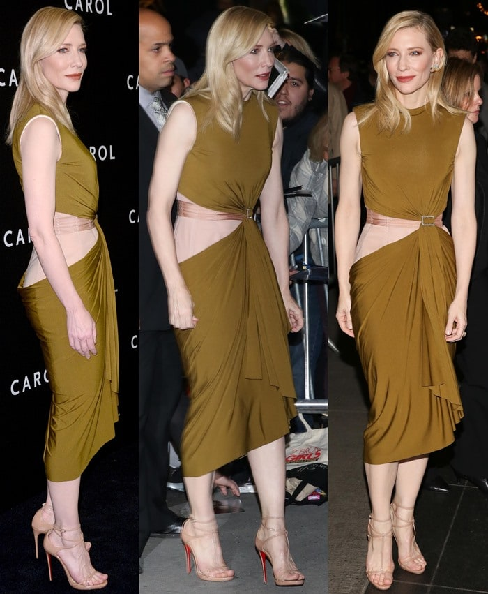 Cate Blanchett shows off the waist detailing on her Lanvin dress