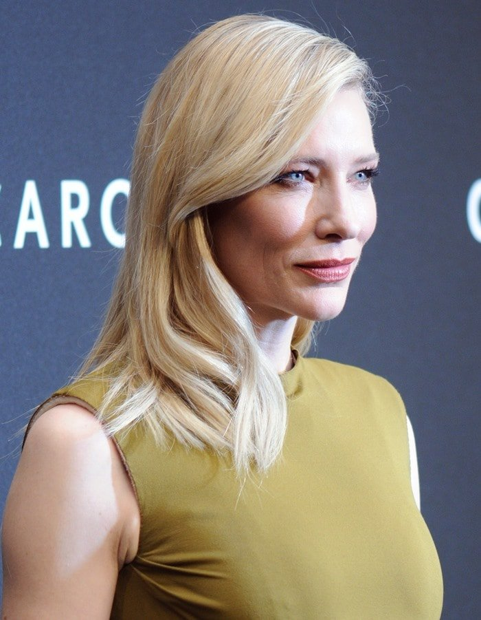 "Cate Blanchett wears a high-necked Lanvin dress to the premiere of ""Carol"""
