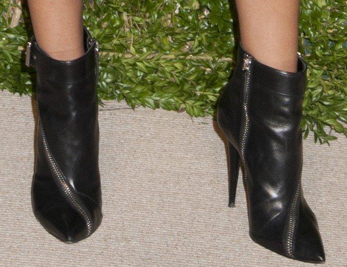 Chanel Iman's feet in Giuseppe Zanotti booties