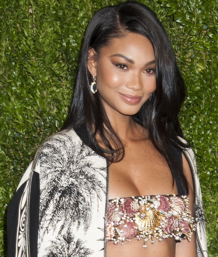 Chanel Iman wears her brown hair down and shows off her smoky eye makeup
