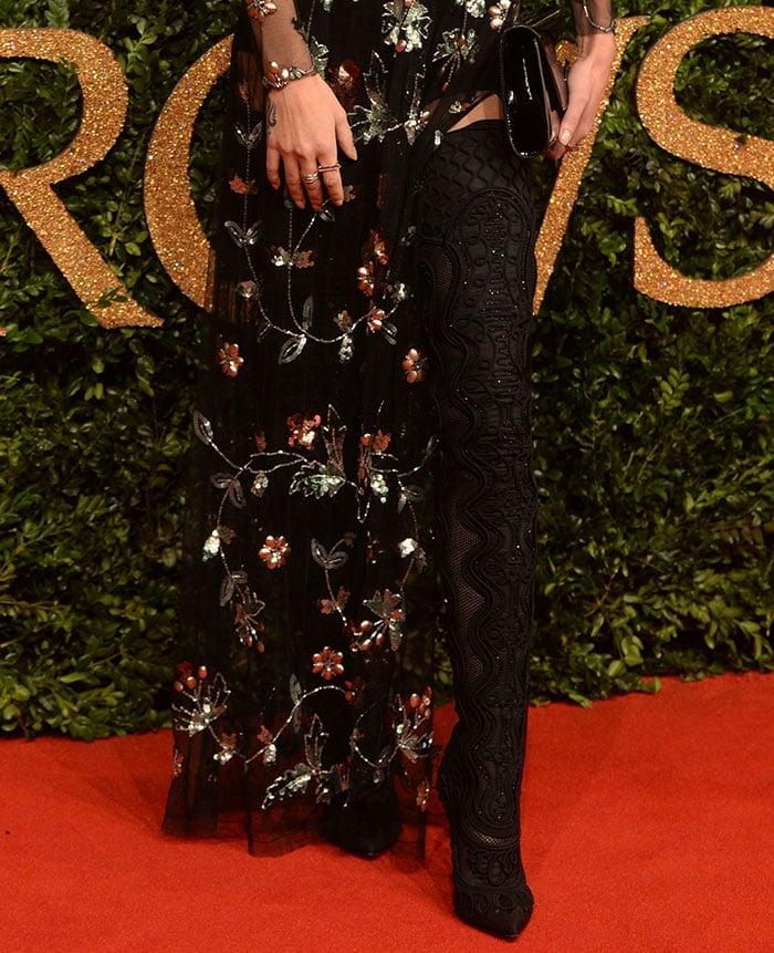 Cheryl Fernandez-Versini's embroidered stiletto thigh-high boots