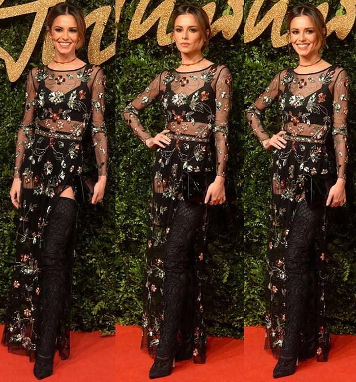 Cheryl Fernandez-Versini's whimsical black dress by British fashion retailer Topshop