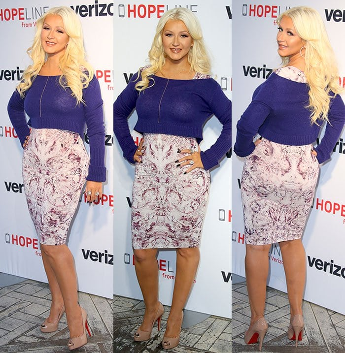 Christina Aguilera lent her voice to help raise awareness about domestic violence with Verizon's HopeLine Program at The London Hotel in West Hollywood